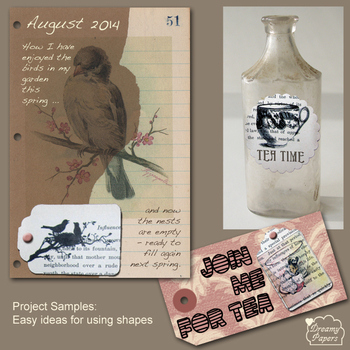 art journal, tag and altered bottle ideas from ephemera shapes