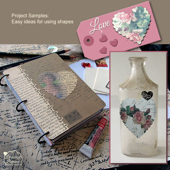 Inspirational projects art journal heart shapes tag altered bottle collage ephemera OOAK
